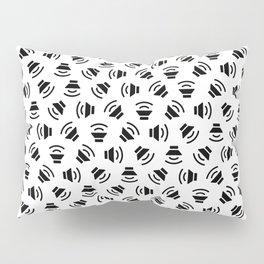 Music On (black on white version) Pillow Sham