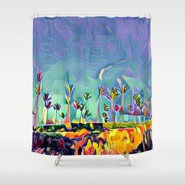 Golden Palm Landscape #2 (Middle) Triptych Shower Curtain