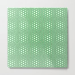 White dots on green background Metal Print