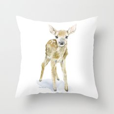 Deer Fawn 2 Watercolor Painting Throw Pillow