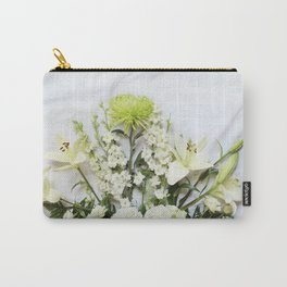 Green and Cream Flowers Carry-All Pouch