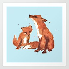Blue Foxes, Cute fox art, nursery foxes, nursery decor, cool brother foxes, fox pillows Art Print