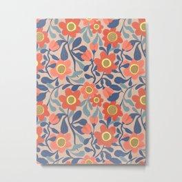 Coral Pink and Blue Flowers Metal Print