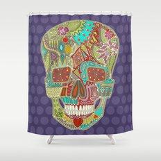 flower skull spot Shower Curtain