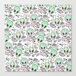 Alien and UFO pattern Canvas Print