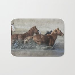 Mustangs Getting Out of a Muddy Waterhole the Fast Way painterly Bath Mat
