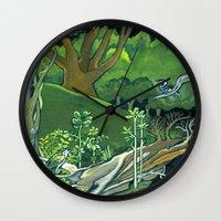giants Wall Clocks featuring Fallen Giants by Patricia Howitt