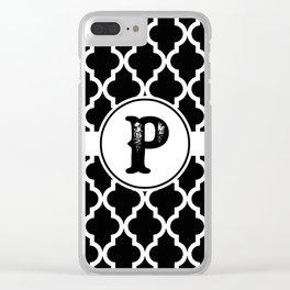 Black Monogram: Letter P Clear iPhone Case