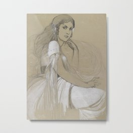 Alphonse Mucha - Portrait of Jaroslava Muchová (Daughter) Metal Print