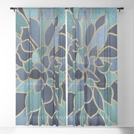 Festive, Floral Prints, Navy Blue, Teal and Gold Sheer Curtain