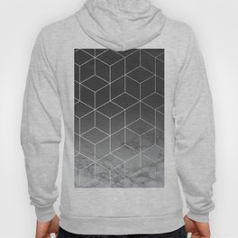 Black and Silver Geometric Marble Pattern Hoody