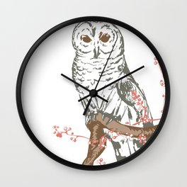 Owl on branch with berries (brown, pink, and blue) illustration Wall Clock