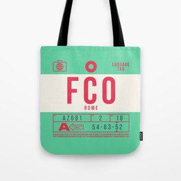 Retro Airline Luggage Tag 2.0 - FCO Rome Airport Italy Tote Bag