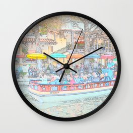 Ride Down The River - San Antonio, Texas Wall Clock