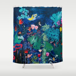 Brightly Rainbow Tropical Jungle Mural with Birds and Tiny Big Cats Shower Curtain