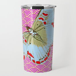 ORIGINAL ORIENTAL STYLE RED-WHITE EXOTIC BUTTERFLY PINK ART Travel Mug