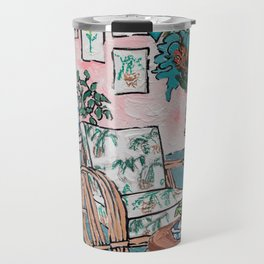 Rattan Chair in Jungle Room Travel Mug