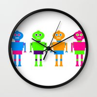 robots Wall Clocks featuring robots by myepicass
