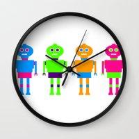robots Wall Clocks featuring robots by vidikay