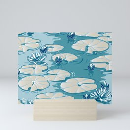 Monets Waterlily Pattern — Teal Mini Art Print