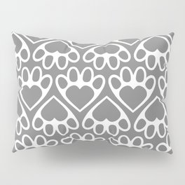 Paw Prints on my Heart - in Grey Pillow Sham
