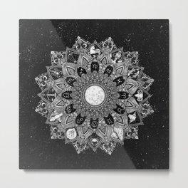 Zodiac Signs Mandala with Starry Background Metal Print