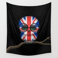 british flag Wall Tapestries featuring Baby Owl with Glasses and the Union Jack British Flag by Jeff Bartels
