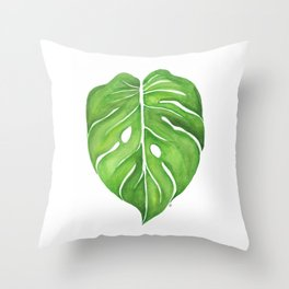 Philodendron Monstera Deliciosa Throw Pillow