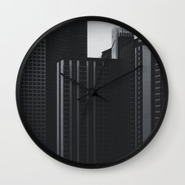 Black and White Buildings Wall Clock