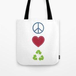 Peace Love Recycle Earth Day Environmental Awareness Tote Bag