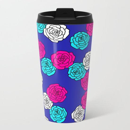 Pop Roses Pattern Metal Travel Mug