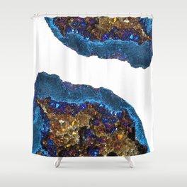 Agate metallic blue & gold Shower Curtain