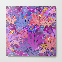 Block Party on the Reef - Clownfish Anemone Marine Sea Life Coral Metal Print