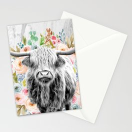 Highland Cow With Flowers on Marble Black and White Stationery Cards