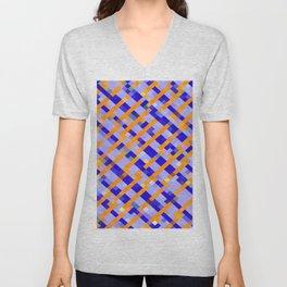geometric pixel square pattern abstract background in orange blue purple Unisex V-Neck