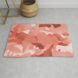 Pantone Living Coral Splatters Watercolor Camo Patchy Digital Art Rug