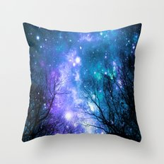 Black Trees Violet Teal Space Throw Pillow