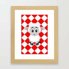 Diamonds Pattern red with Lamb Framed Art Print