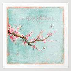 Live life in full bloom - Romantic Spring Cherryblossom butterfly  Watercolor illustration on aqua Art Print