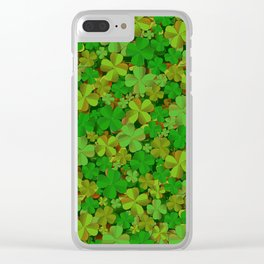 Lucky Clovers Clear iPhone Case