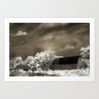 Surreal Infrared Sepia Barn Landscape Art Print