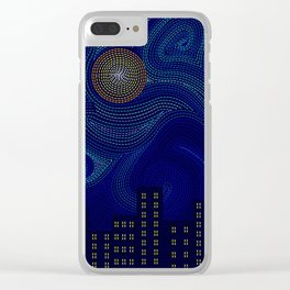 Blue Van Gogh Inspired Dark Night City Skyline Clear iPhone Case