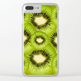 TROPICAL GREEN KIWI SLICED FRUIT MODERN ART Clear iPhone Case