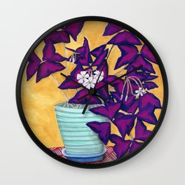 Purple Shamrock Plant Wall Clock