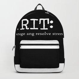 Grit Quote Art Design Inspirational Motivational Backpack