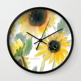 Sunflower watercolor  Wall Clock