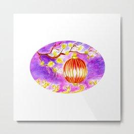 Oriental lantern Purple sky Metal Print