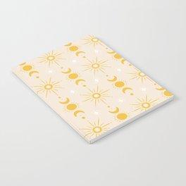 Yellow Sun & Moon Pattern Notebook