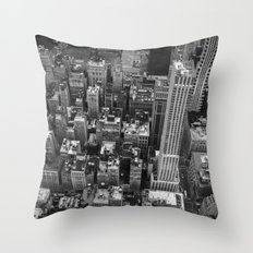 Manhattan Skyline - Black and white photograph Throw Pillow