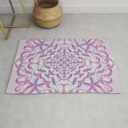 Soft Lilac Mandala Flower - Radial Symmetry Floral Rosetta Pattern - Abstract Geometric Mid-Century Decoration Rug